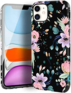 CUSTYPE Case for iPhone 11, iPhone 11 Case Floral Watercolor Camellia Flower Design Girls Women Leather Bumper Soft TPU Shockproof Protective Cover for iPhone 11 6.1''