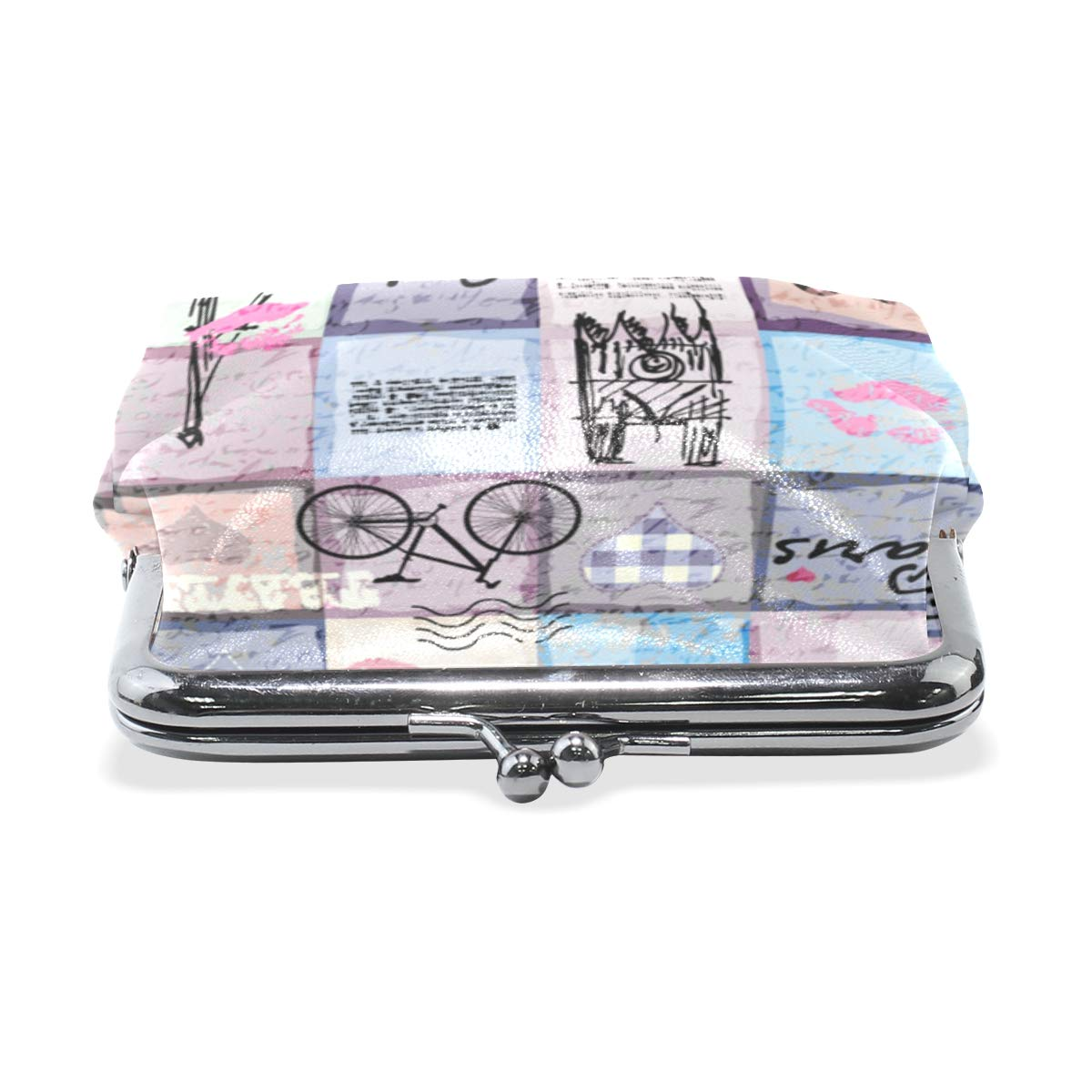 Retro Scrapbook Collage Paris Coin Purse Buckle Vintage PU Pouch Kiss-lock Wallet for Women Girl