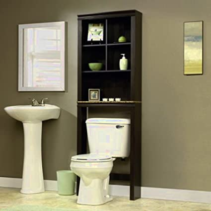 bathroom etagere spacesaver stand rack from wood 5 shelf unit cinnamon cherry standing over - Bathroom Etagere