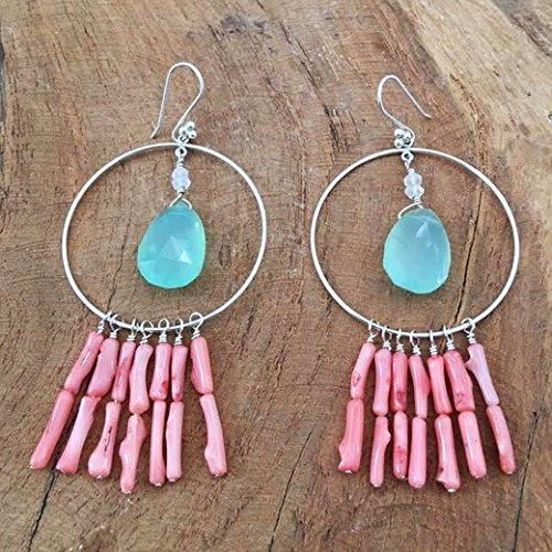 Briolette Hoop Crystal Earrings (Coral Branch Hoop Earrings with Aqua Chalcedony Moonstone and Sterling Silver)