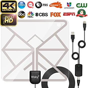 Antena HDTV, amplificada Digital Wsky, Antena de TV HD de 60 a 80 Millas VHF/UHF, Canales Locales de televisión, Compatible con televisores 4K 1080p y Todos los televisores más Antiguos: Amazon.es: Electrónica