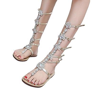9e7bdfa4a868cd Fullfun Womens Summer Flat Shining Rhinestones Chain Sandals Boots T-Strap  Shoes (5.5)