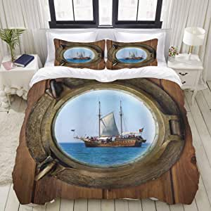 Mokale Decorative Quilt Cover Set Marine Ship Window with a Tourist Cruise Motif Summer Season Activity Themed Composition 3 Piece Duvet Cover Set With 2 Pillowcases,Hotel Dorm Doona Cover Double Size With Zipper Closure
