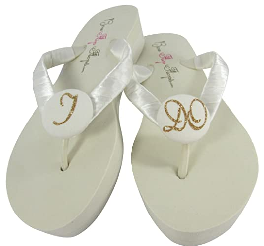 Ivory Wedge Flip Flops With I Do Glitter For The Bride Wedding Bridal Heel