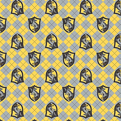 Harry Potter Flannel Hufflepuff Crest by Camelot Fabrics, Precut for Fast delivery, Licensed by Warner Bros. (2 - Licensed Fabric Flannel