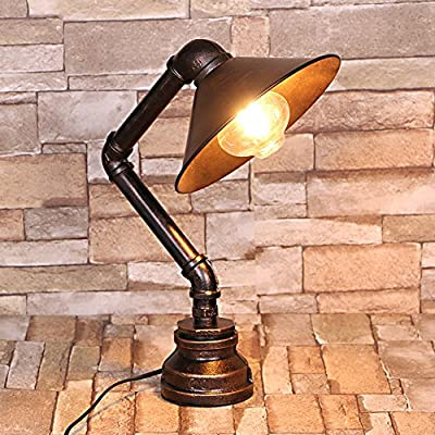 Water Pipe Desk Lamp, Motent Industrial Retro Rust Iron Water Pipe Table Light Antique Steampunk Desk Accent Lamps for Bedroom Workshop Coffee Shop - Creative Plumbing Table Lamp