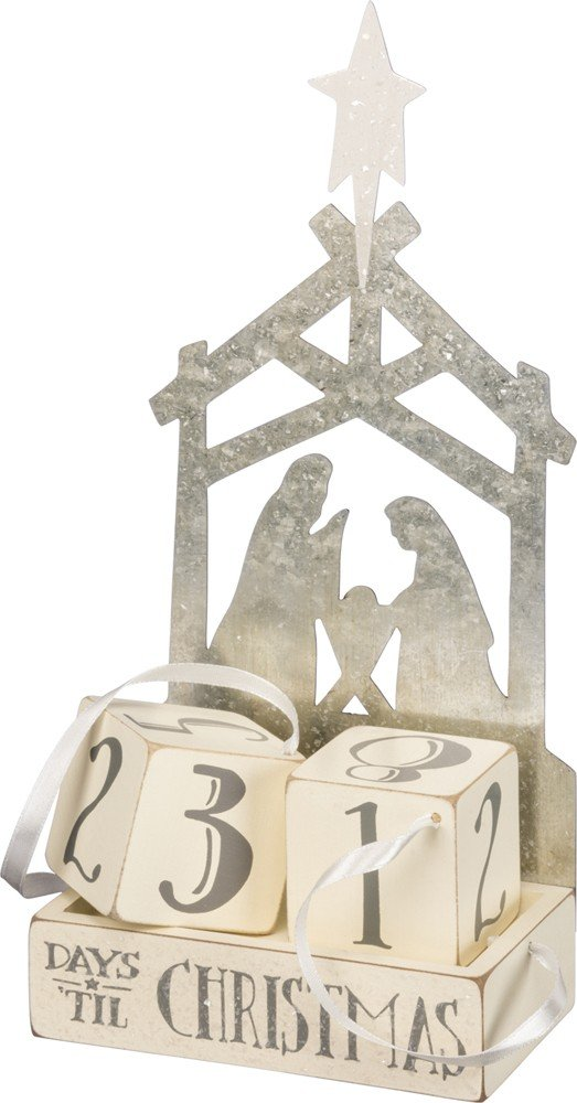 Primitives by Kathy Christmas Countdown Wood Blocks Set, Nativity, 3 Piece 32708