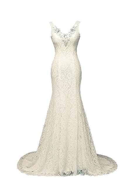 Ysmo de las mujeres con cuello en V de encaje vestidos de novia de la Sirenita