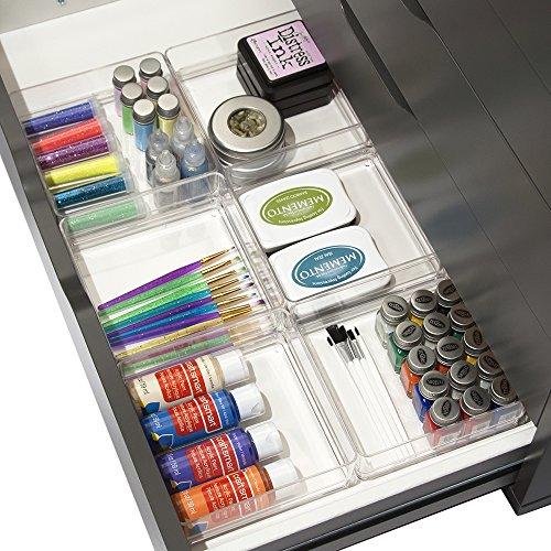 """Clear Plastic Desk Drawer Organizers 6"""" x 6"""" x 2"""" l Set of 6"""