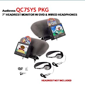 Audiovox QC7SYSPKG 7-Inch Headrest Monitor With Built-In DVD PLayer and Wired Head Phones