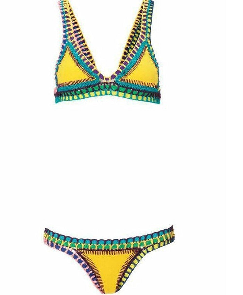 e45e333f48f77 DPWELL Women s Crochet Knitted Triangle Bandage Bikini Set Neoprene Push UP  Bra Swimwear Swimsuit (Large