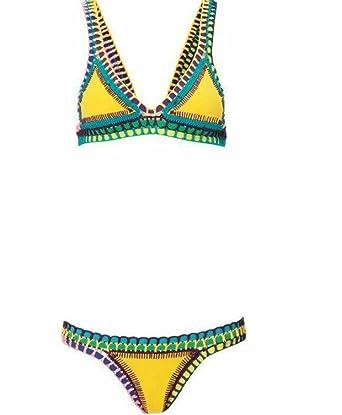 159f9ae7e1 DPWELL Women s Crochet Knitted Triangle Bandage Bikini Set Neoprene Push UP Bra  Swimwear Swimsuit (Large