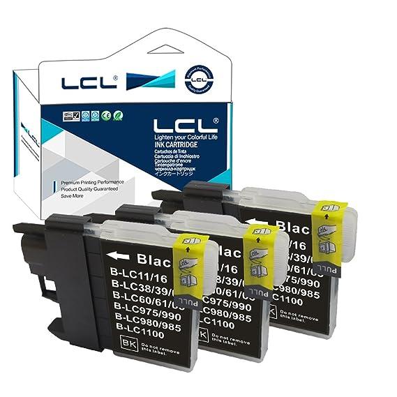 LCL Cartucho de Tinta Compatible LC985 LC985BK (3Negro) Reemplazo para Brother DCP-J125 J315W J515W J140W