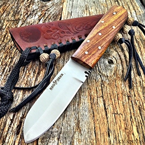 (Tactical Hunting Knife - Survival Knife - Stainless Steel - Full Tang Western Style Fixed Blade Leather Sheath)
