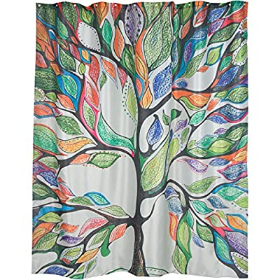 """DOTZ Tree of Life Shower Curtain - Lightweight, Polyester, Mold and Mildew Resistant. Fits 180 x 180cm or 70"""" x 70"""" - Durable and Long lasting - Rustproof metal grommets. The grommets give the curtain a decorative look and protect the curtain from ripping around the rings. Quality makes the difference. Use by itself or with a liner to protect your decorative curtain Standard Size to Guarantee Fit - The Shower Curtain measures at 70 inches wide by 70 inches (actual: 180cm x 180cm) to fit standard size tub/shower areas. Waterproof and Mold/Mildew Resistant - 100% waterproof, resistant to mold, bacteria and mildew build-up. Simple clean up... throw it in the washing machine. - shower-curtains, bathroom-linens, bathroom - 61MznIkfEYL. SS400  -"""