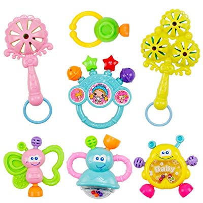 GoodKE 7pcs Cute Shape Soft Make Sound Rattle Set Baby Handheld Early Educational Toy Dresses: Clothing