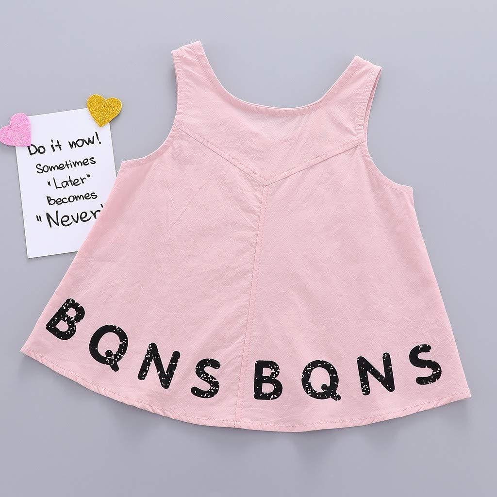Jarsh Toddler Infant Baby Girls Dress Sleeveless Letter Printed Dresses Clothes 3 Colors