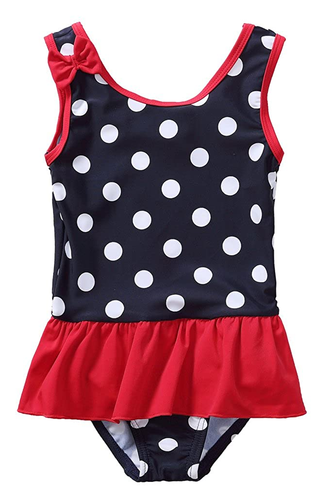ATTRACO Baby Girls Swimsuit Polka Dot One Piece Swimdress Bowknot Bathing Suit