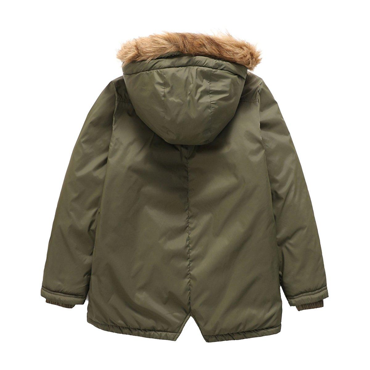 PHIBEE Girls Cotton Winter Windproof Faux Fur Hooded Parka Jacket
