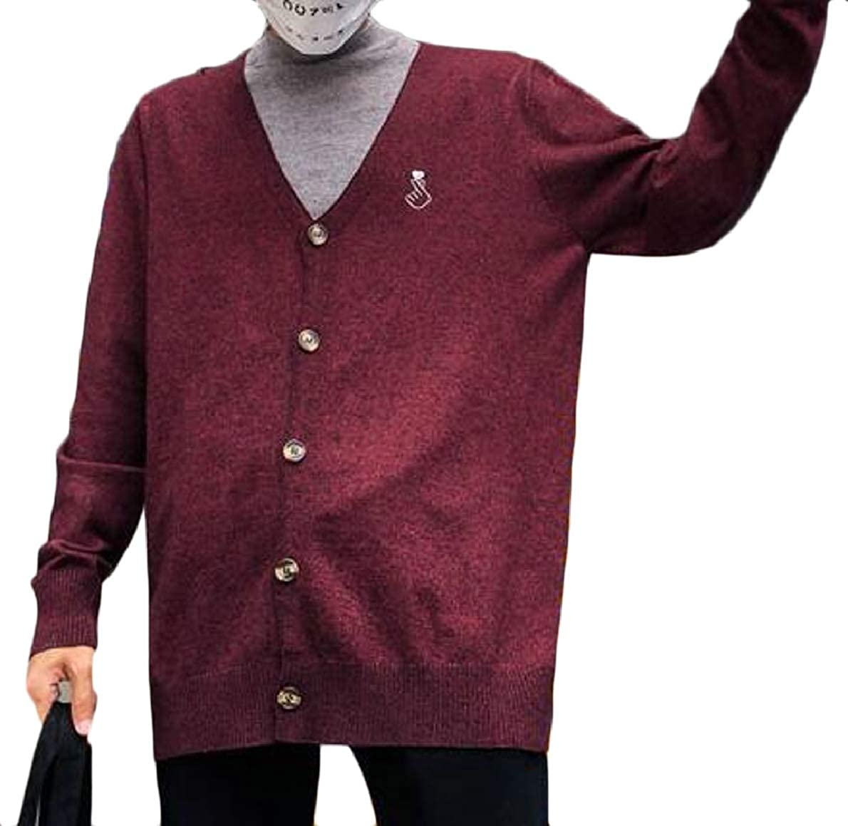FLCH+YIGE Men V-Neck Long Sleeve Button Up Cardigan Knitwear