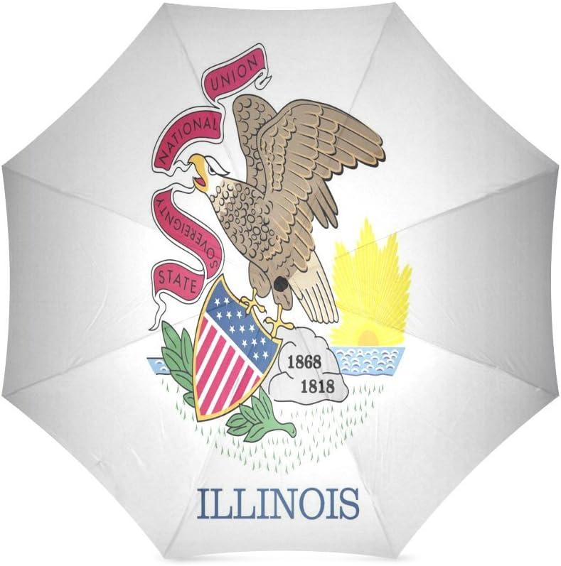 Custom Illinois State Flag Compact Travel Windproof Rainproof Foldable Umbrella