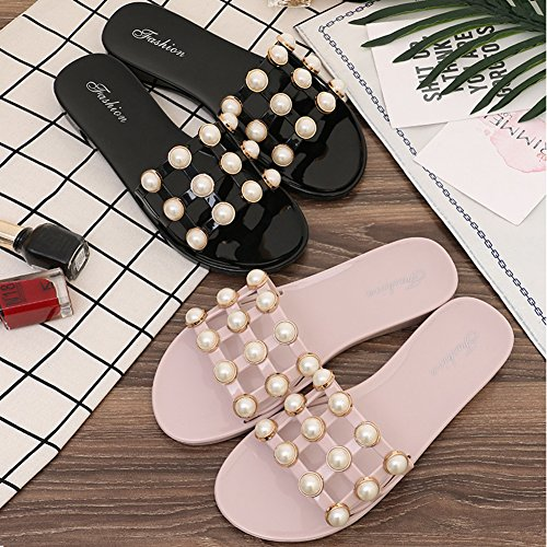 Sandali Btrada Per Le Donne Scarpe Piatte Antiscivolo Estive Decorazione Perla Nero