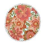 KESS InHouse Art Love Passion Flower Power Red Floral Round Beach Towel Blanket