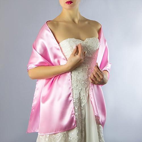 Chal saten color rosa pink novia boda novia para vestido de fiesta