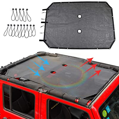 JK Sunshade Mesh Shade Top Cover Provides UV Sun Protection for 4 Door 2007-2020 Jeep Wrangler JK Accessories (Black): Automotive