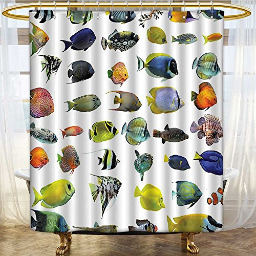 Mikihome Shower Curtains Digital Printing Emperor AngelTang Discus CornUnderwater Types Satin Fabric Bathroom Washable W69 x H70 inch