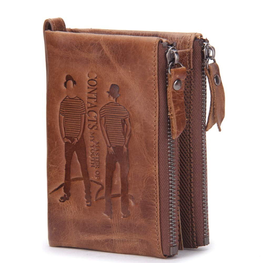 Color : Brown, Size : S DAYIYANG Special Design Mens Wallet Leather Short Fashion Casual Double Zipper Purse Mad Cowhide