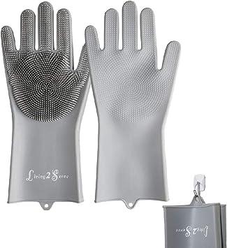 Amazon.com: Guantes de silicona para lavar platos, guantes ...