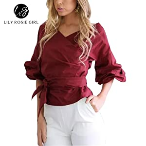 Lily Rosie Girl Women's Casual Bow Ruched Sleeves Blouse Off shoulder Ruffled Tops (Medium, Wine Red)