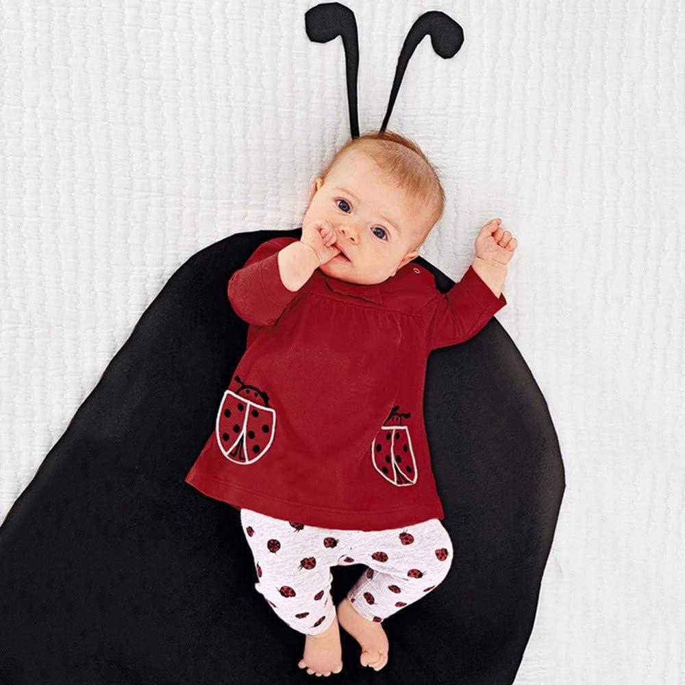 Jimmackey 2pcs Neonata Bowknot Maglietta Scarabeo Ricamo Pullover Cime Animale Stampa Pantaloni Abiti Set