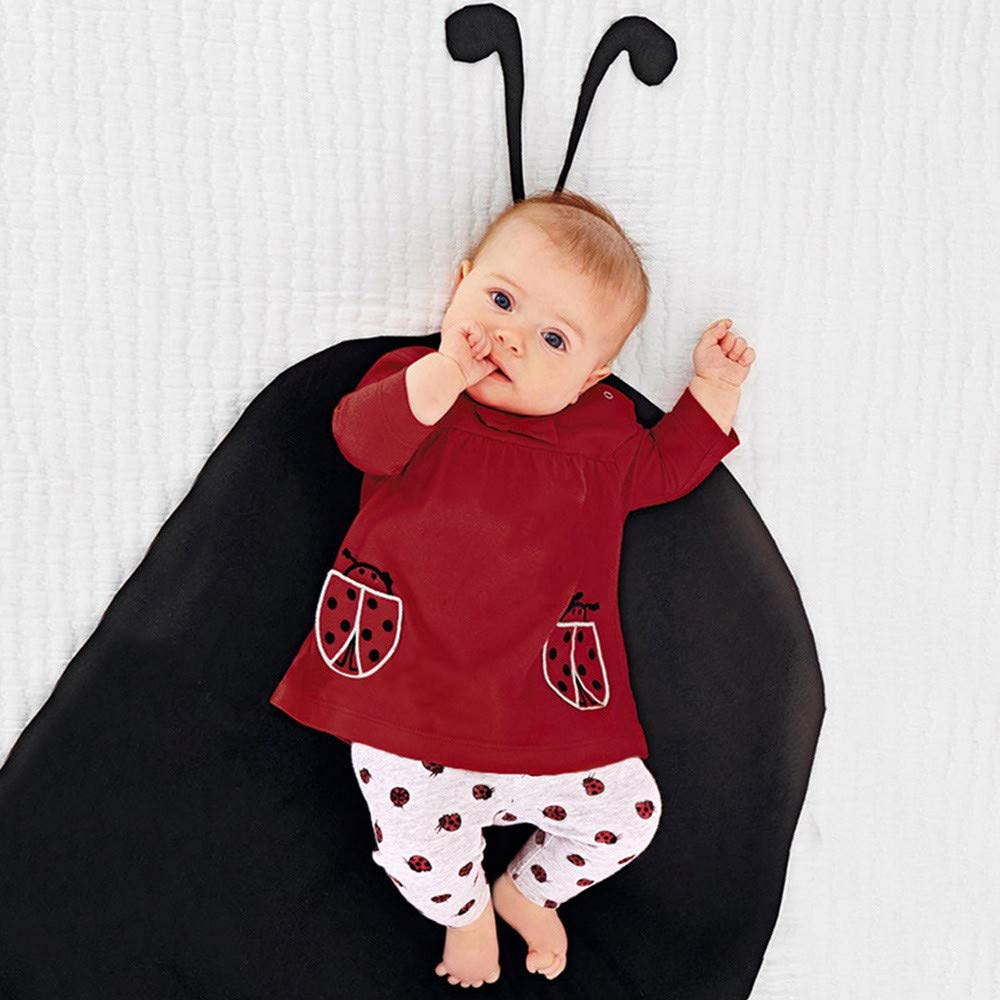 Infant Toddler Baby Bow Girl 3-24 Months Beetle Cartoon Print Tops Pants Sets Clothes Outfit
