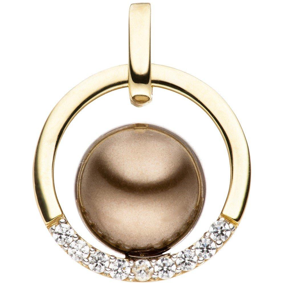 Anhänger Kreis mit Perle braun /& Zirkonia weiß 333 Gold Gelbgold bicolor rund