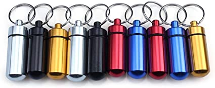 3/tama/ño resistente al agua aluminio caja de p/íldora caso botella de cach/é drogas Holder llavero contenedor para hombres y mujeres impermeable /& p/íldora llavero ideal para viajes