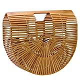 Tote Bag Iswee Women Bamboo Handbag Handmade Summer Beach Bag (Large Size)