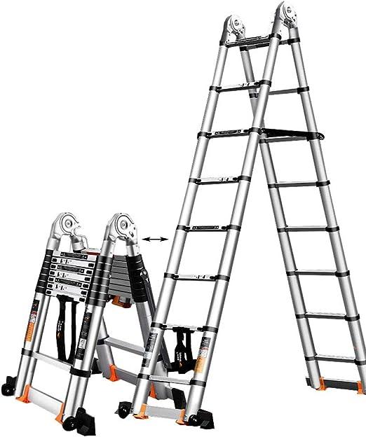 Escalera Telescópica- Escalera De Extensión Doméstica con Barra De Soporte, Escalera De Ingeniería De Aluminio Multiusos para Oficina Tipo Loft, Capacidad De Carga De 330 LB: Amazon.es: Hogar