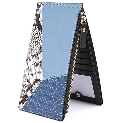 Cartera Cuero Mujer KOGOLIKE Tarjeteros para Tarjetas de Credito RFID Billetera de Piel Monederos con Cremallera (Azul)