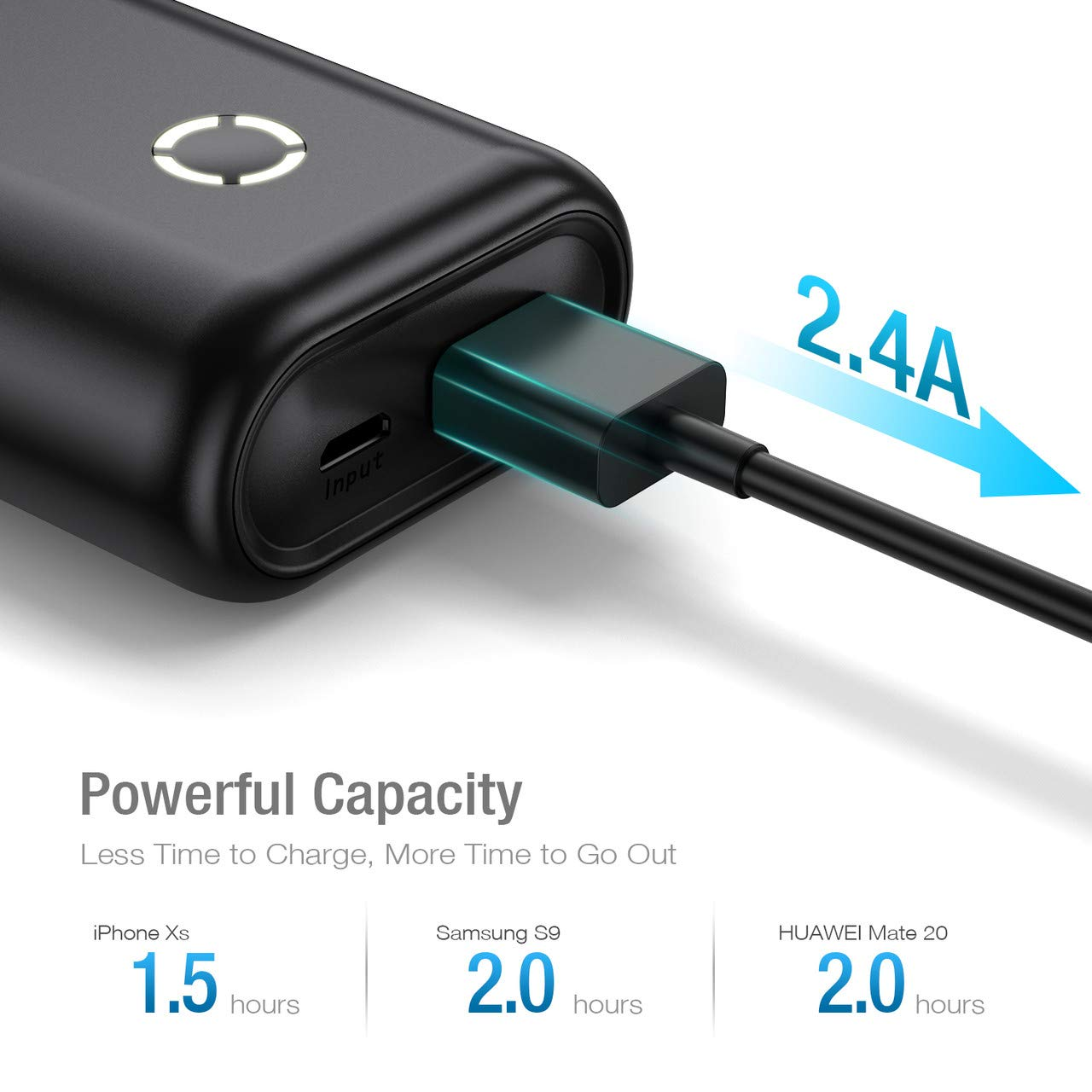 Poweradd EnergyCell 10000, Portable Charger Power Bank,The Smallest and Lightest 10000mAh External Batteries, Power Bank with Smart Charge Compatible for Smartphone,iPhone, Samsung Galaxy and More
