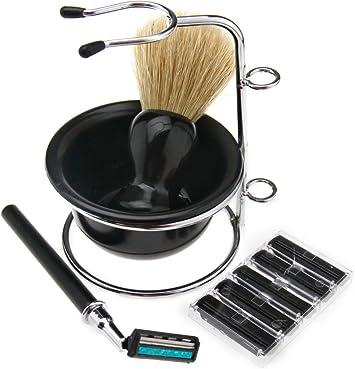 4 en 1 Afeitadora Kit de afeitar barba limpieza Kit cepillo jabón ...