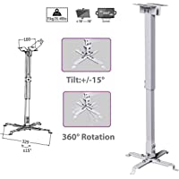 Alexvyan Universal Certified 1 to 2 feet/12 to 24-inch Adjustable Projector Ceiling and Wall Mount Kit Bracket Stand with Tilt Option (Weight Capacity of 15kgs 2 ft, White)