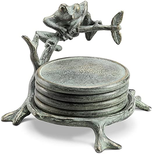 Frog on Branch Coasters with Stand SPI Home