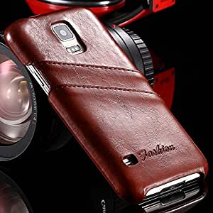 S5 Vintage Leather Oil Wax Case for Samsung Galaxy S5 i9600 Phone Accessories Fashion Back Cover Bags Card Slots Luxury Elegant --- Color:Blue