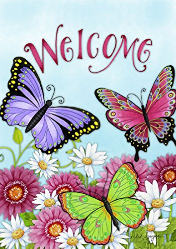 Briarwood Lane Welcome Butterfly House Flag Spring Daisy Wildflowers 28
