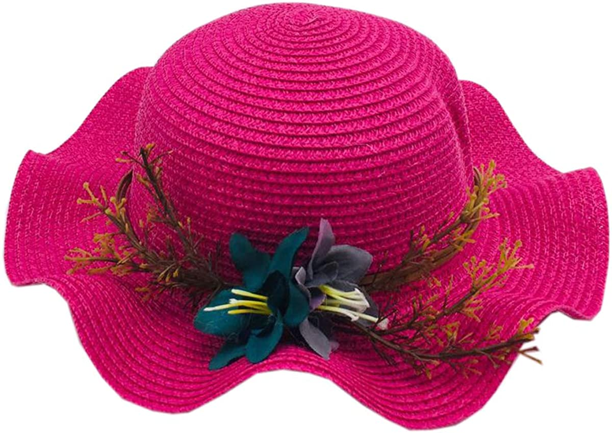 ACVIP Little Girls Flowers Decorated Wedding Formal Sun Hat