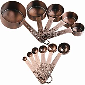 Lucky Plus Stainless Steel Measuring Cups and Spoons Set Heavy Duty 5 Measuring cups and 6 Measuring Spoons and 2 Rings Pack 13pcs Copper