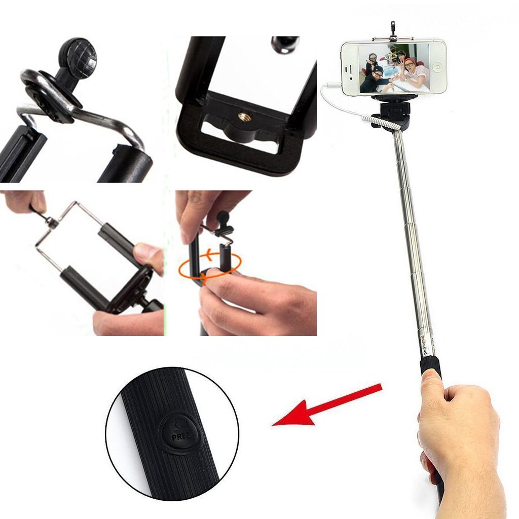 100pcs Bulk Sales No Battery No Bluetooth No Wifi Portable Foldable Extendable Durable Universal Selfie stick Adjustable Phone Holder Mount Stand for IOS Android Smartphones Apple iPhone 6 Plus Promo