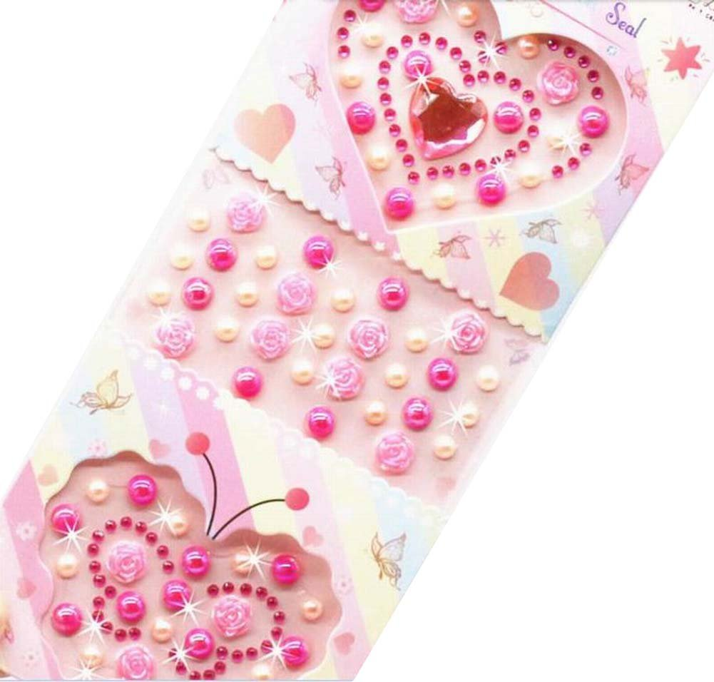 4 Sheets Acrylic Rhinestone Stickers DIY Crafts Stickers, Pink Butterfly